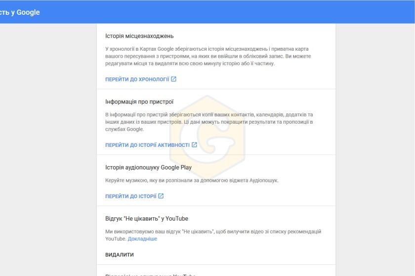 Google історію, видалити історію, видалити дані, видалити, Google, інструкція, налаштування
